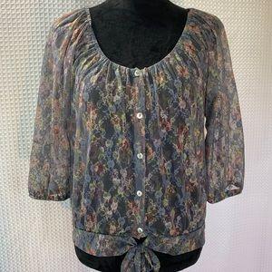 American Rag Sheer Button Down Floral Blouse EUC